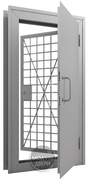 двери металлические с решеткой для кассы