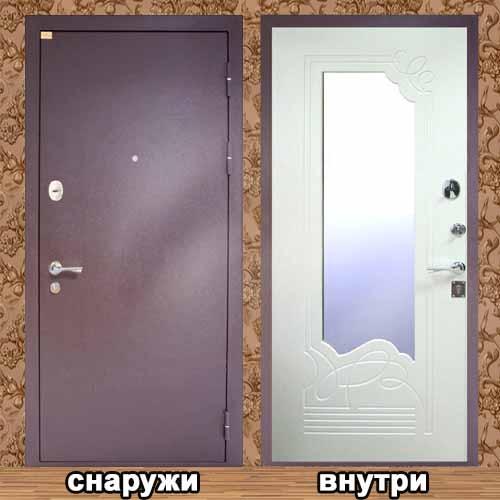 металлическая дверь с внутренней стороны с зеркалом