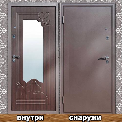 стальные двери клин с зеркалом внутри