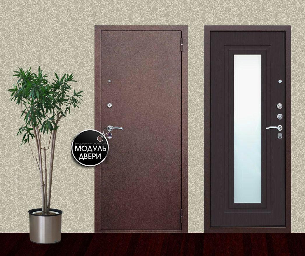 металлические двери с отделкой внутри из зеркала