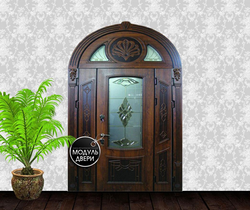 входные двери в коттедж со стеклом на заказ