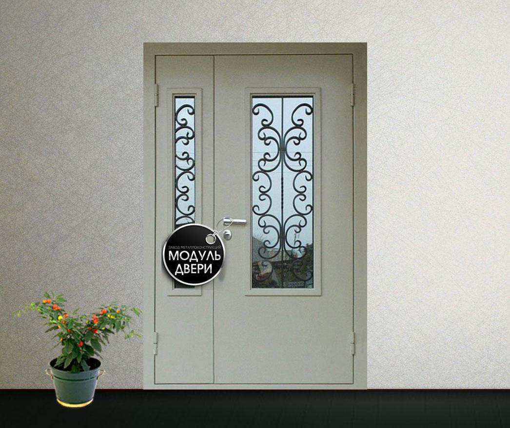 стальные двери с художественной ковкой и стеклом цена