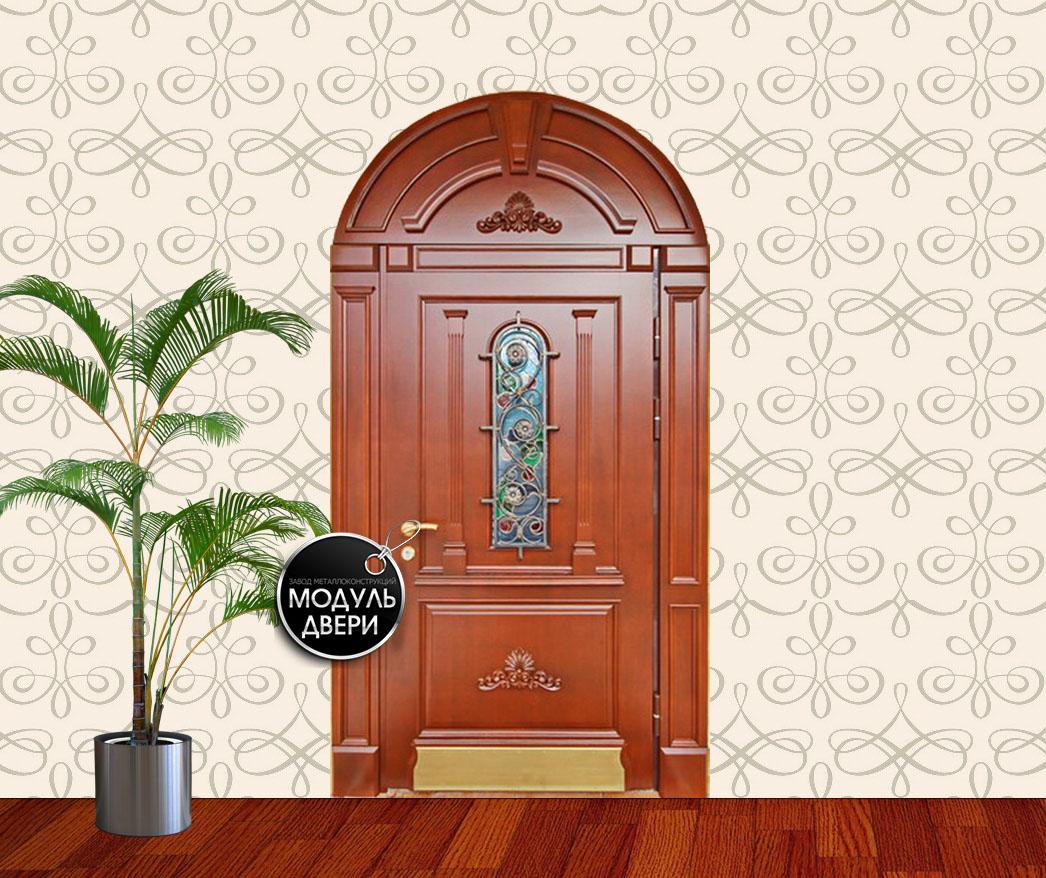 металлическая дверь эконом класса с элементами ковки