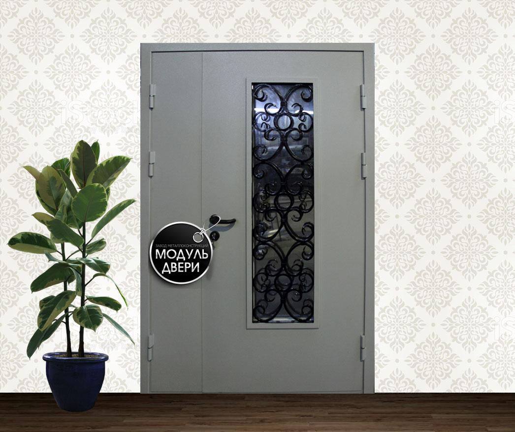 двери железные с порошковым напылением стеклом и ковкой