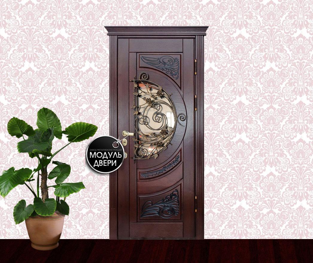 входные двери в квартиру с ковкой и стеклом