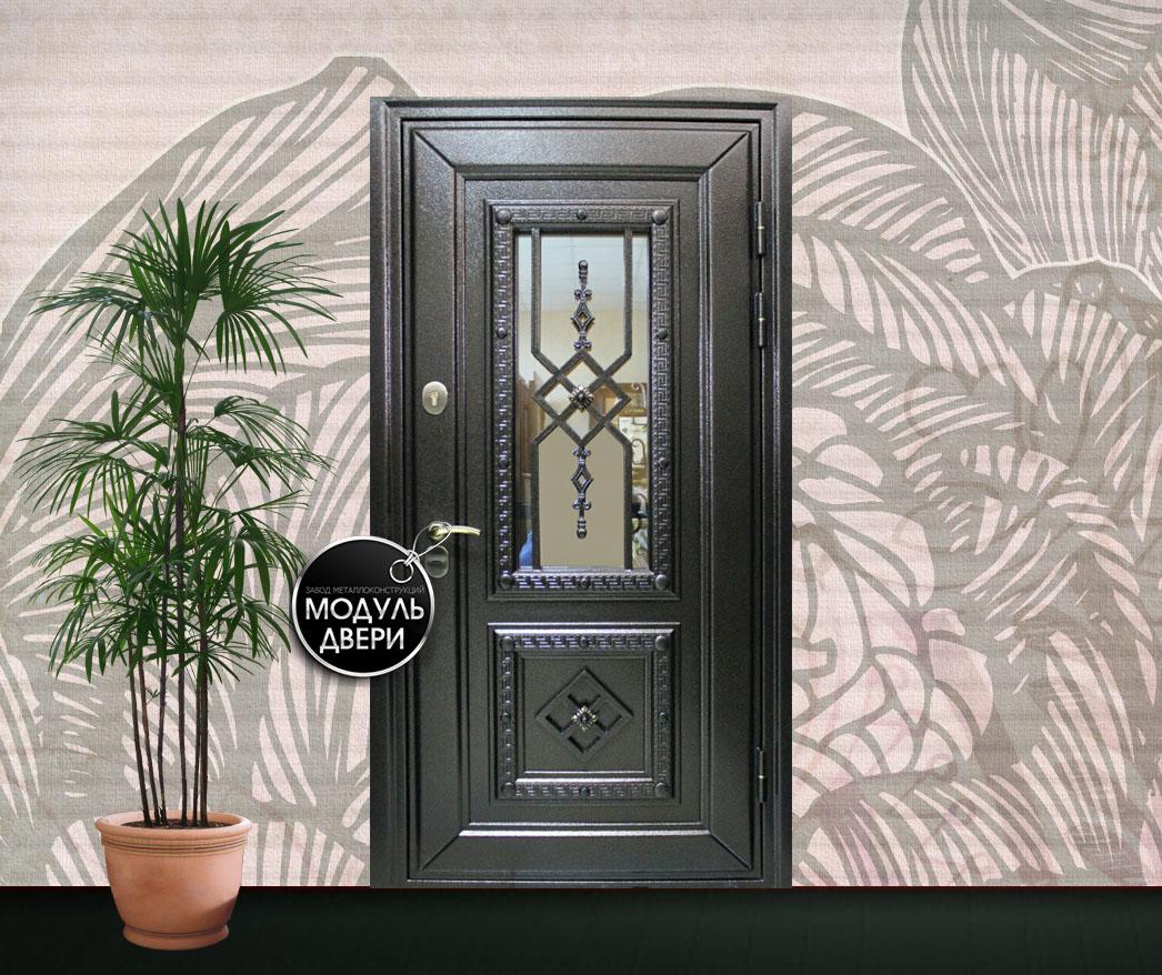 входная дверь с элементами ковки и стеклом