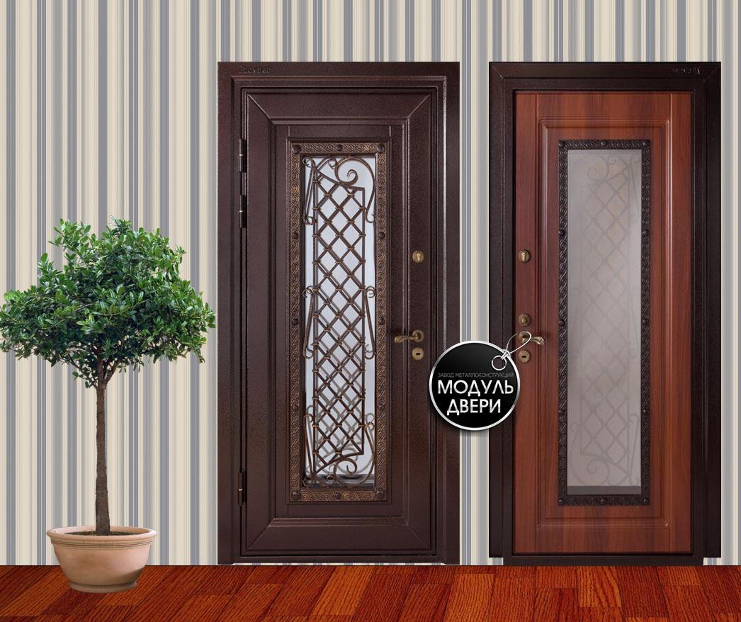 входные металлические двери из мдф со стеклом и ковкой