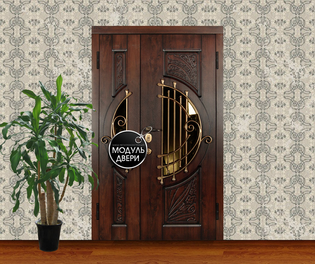 металлическая дверь для коттеджа с стеклом и ковкой