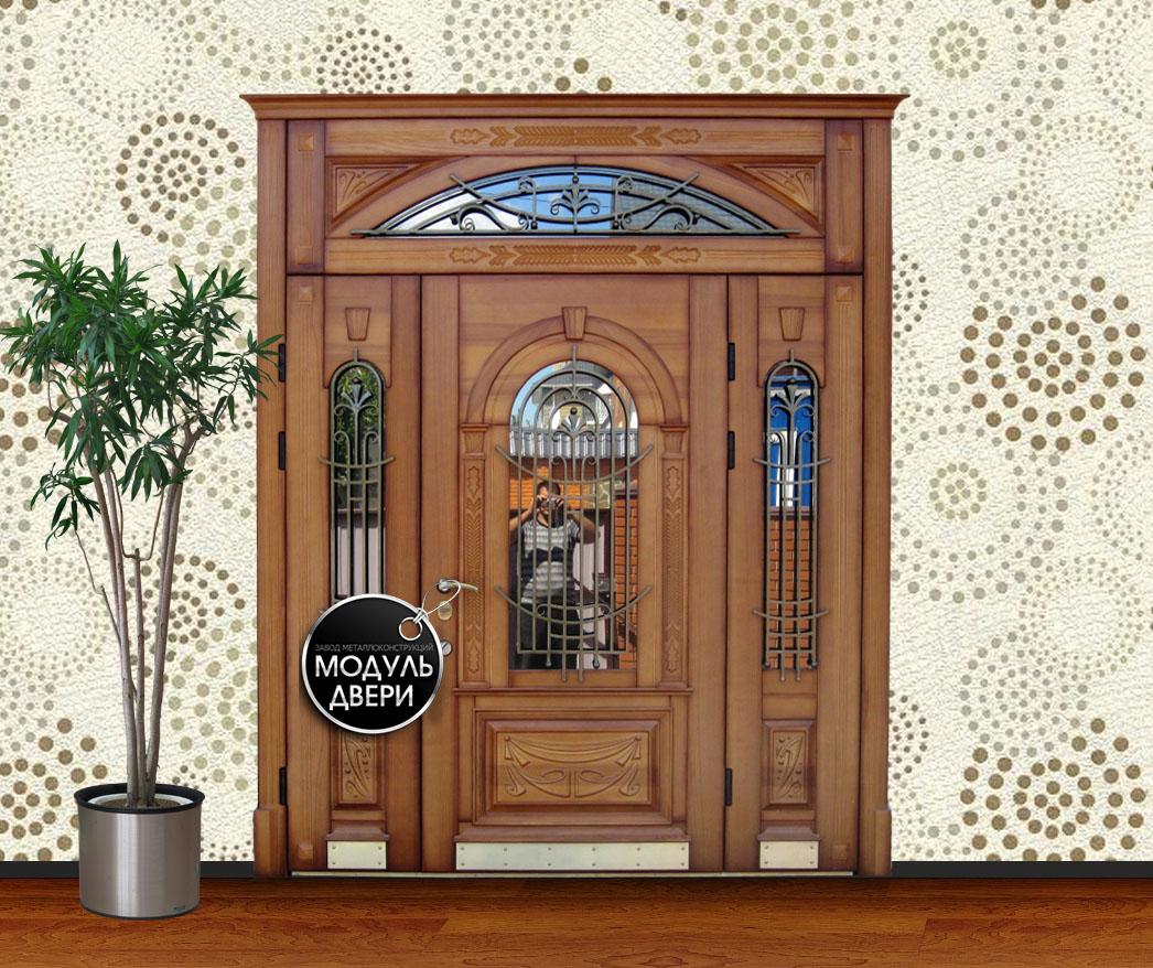 входная дверь с ковкой и стеклом дешевая