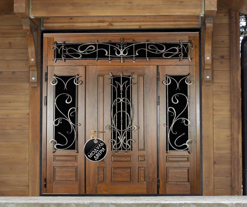парадная железная дверь с верхней фрамугой