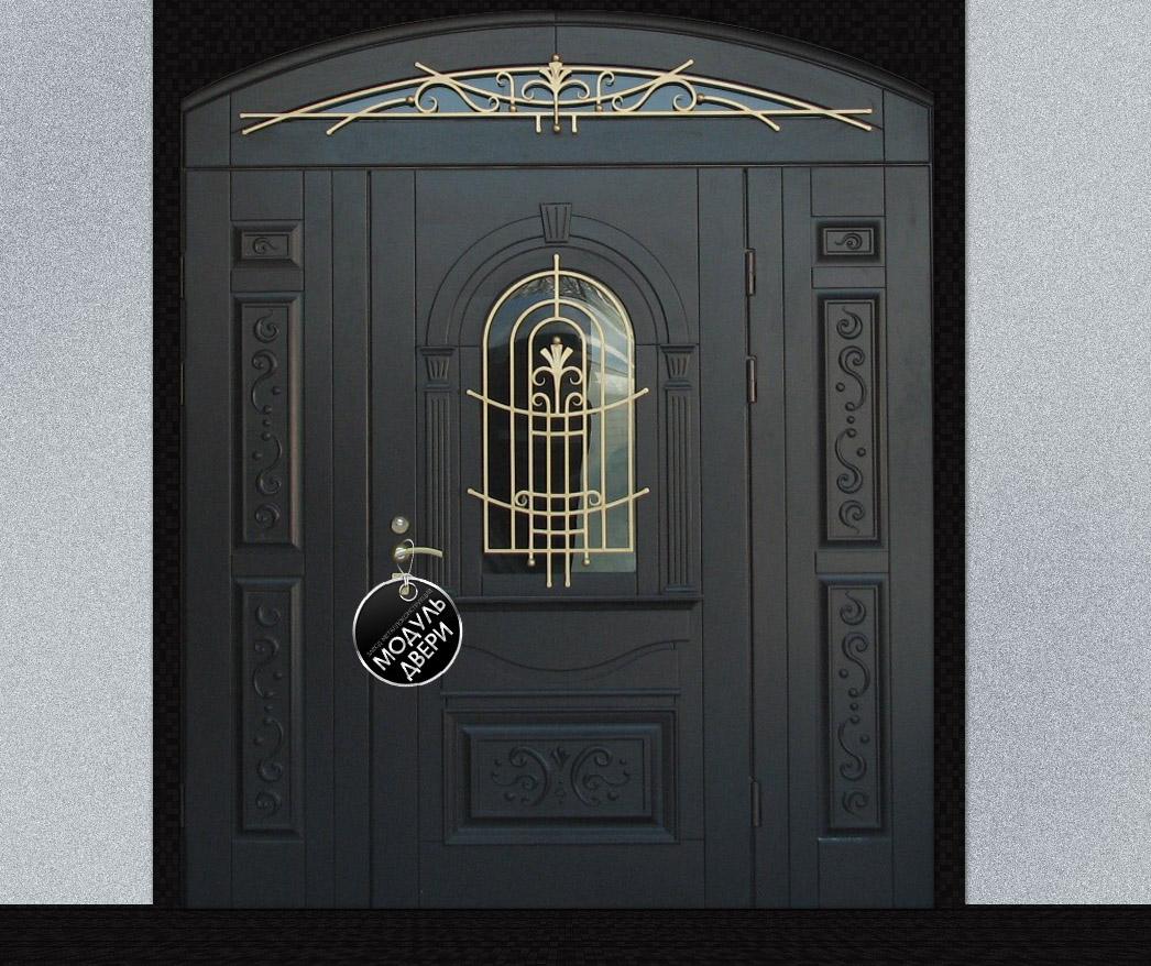 металлические двери со стеклом на улицу