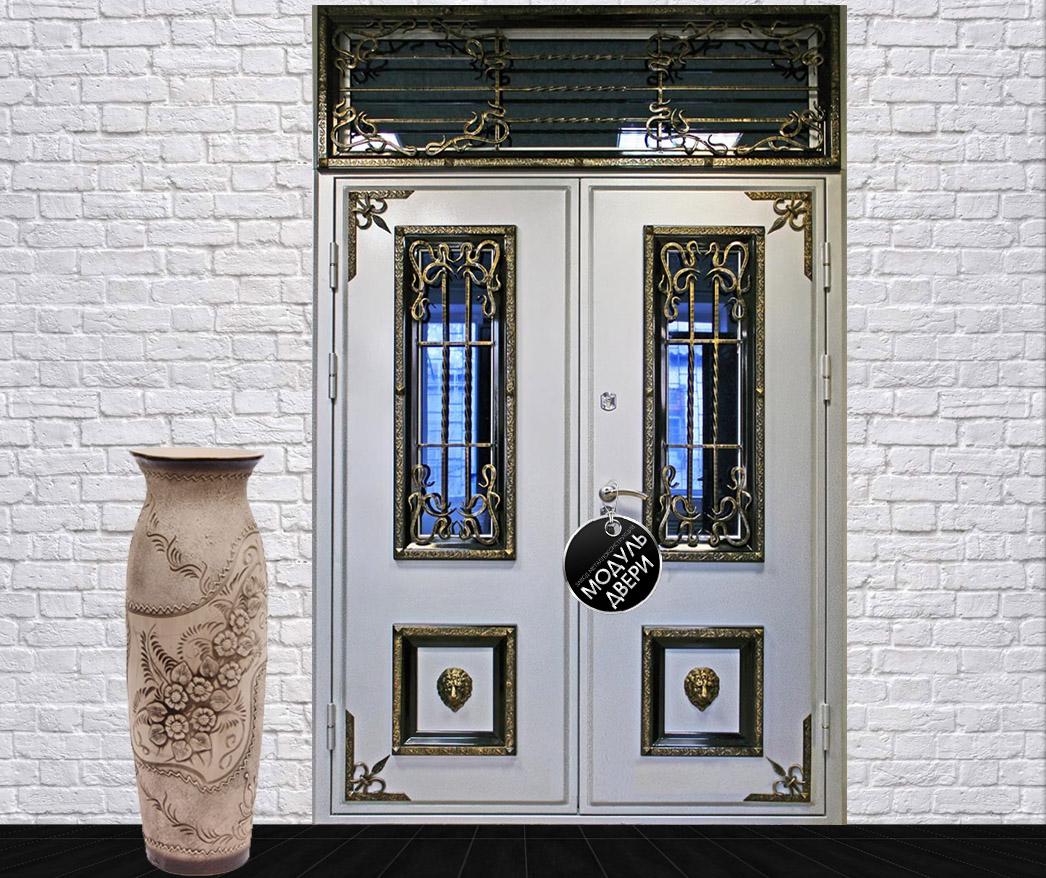парадные металлические двери с ковкой