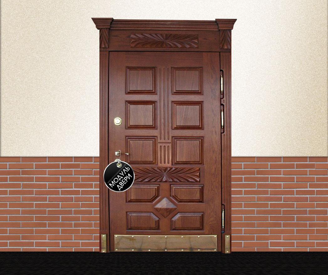 парадные металлические двери массивом