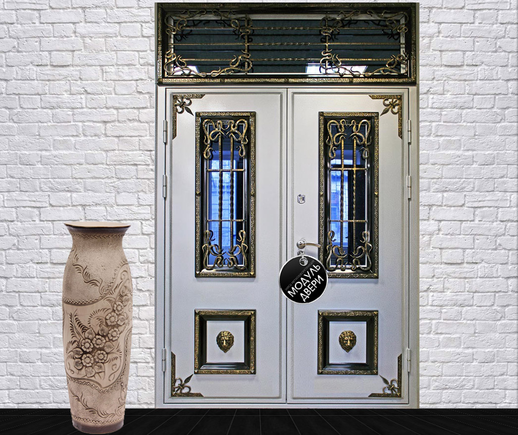 металлическая дверь со стеклопакетом парадная
