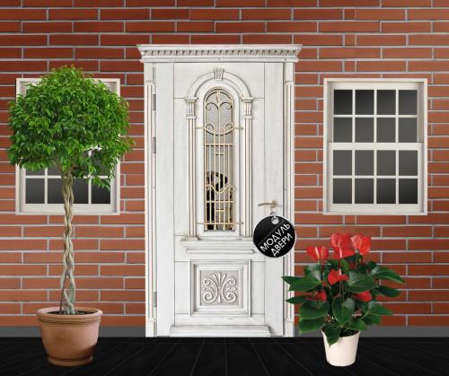 парадная входная дверь со стеклом
