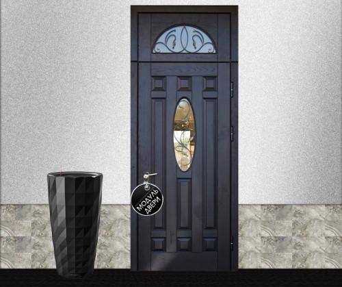 парадная железная дверь с фрамугой